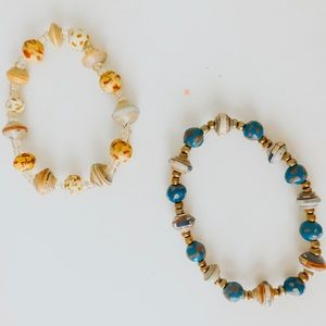 Yellow and blue beaded bracelets